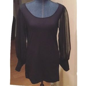 Newport News Tops - Newport News black sheer bishop cud sleeve blouse
